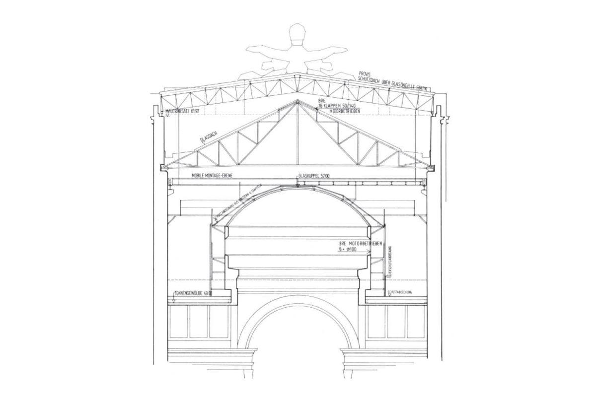 TPA Neue Hofburg Dach Querschnitt