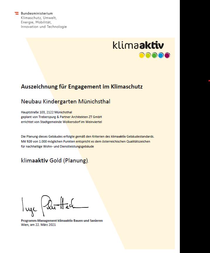 Urkunde klimaaktiv GOLD für Planung Kindergarten Münichsthal